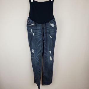 Indigo Blue M ripped maternity jeans